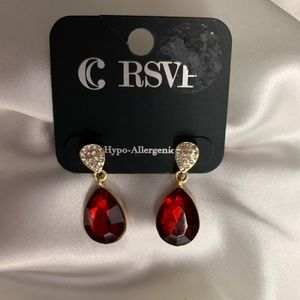 NEW- Charming Charlie red,gold, diamond earrings